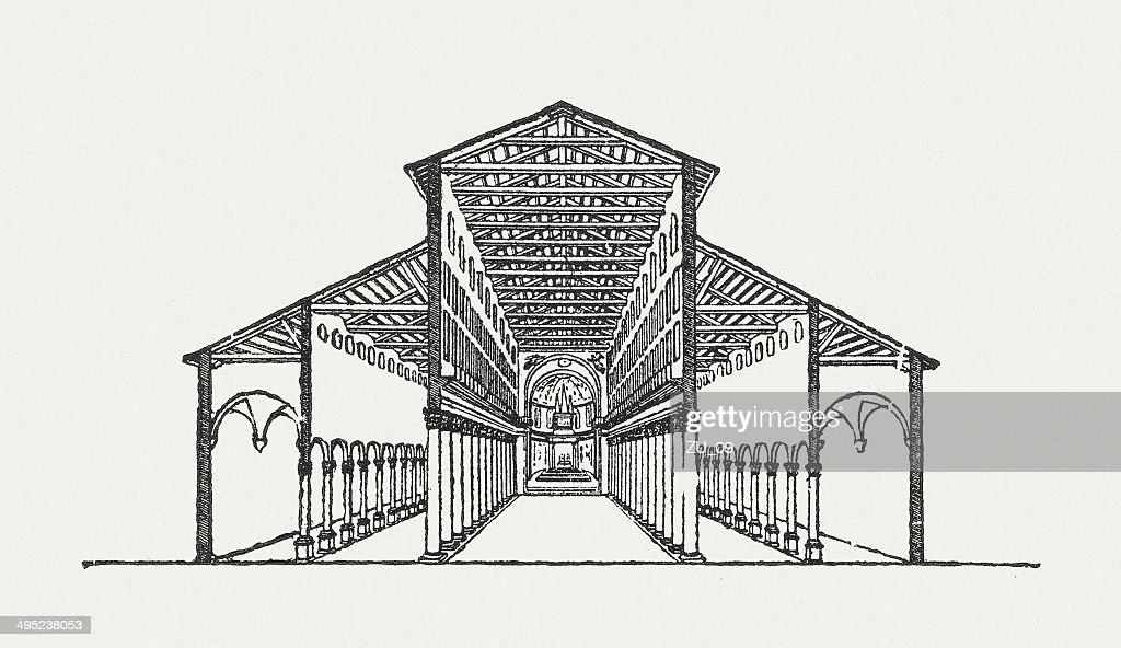 Old St. Peter's Basilica, built by Constantine the Great, 324 : stock illustration