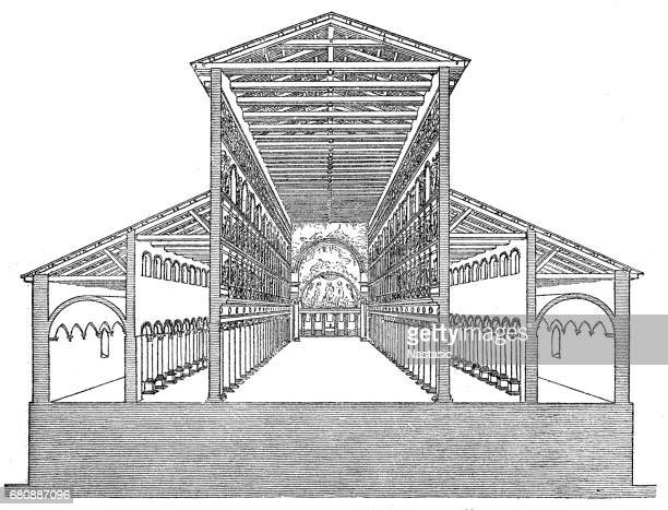 old st. peter's basilica, built by constantine the great - basilica stock illustrations