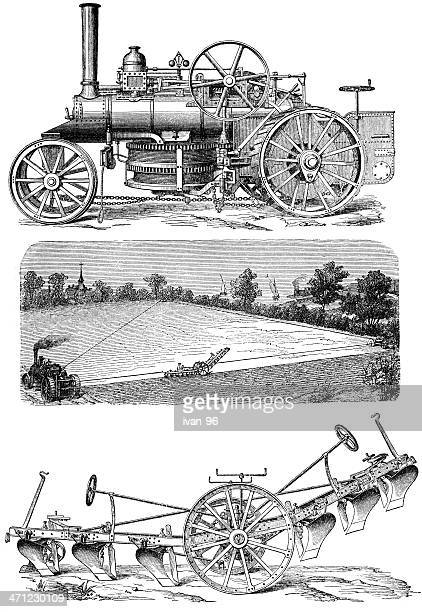 old steam tractor - harrow agricultural equipment stock illustrations, clip art, cartoons, & icons
