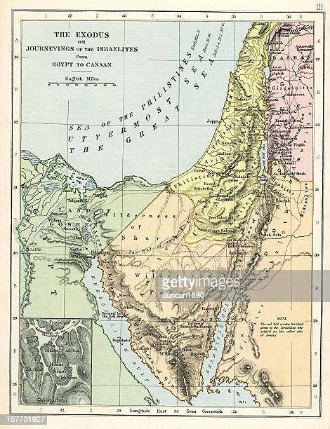 old testament map - historical palestine stock illustrations