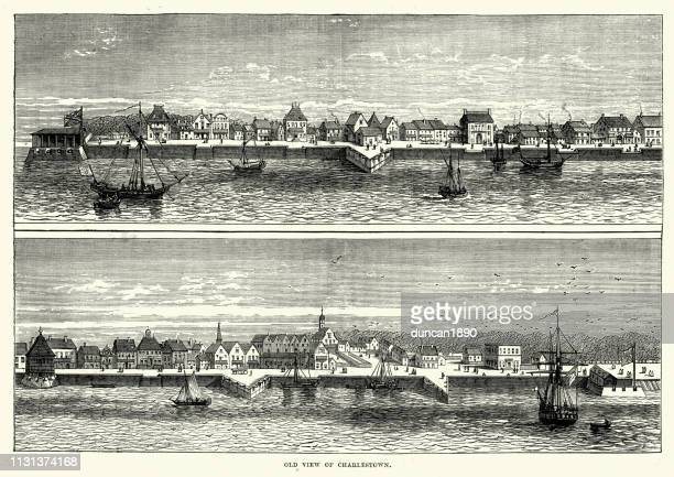old view of charlestown, usa - 1600s stock illustrations