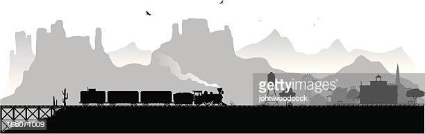 old western railroad - wild west stock illustrations