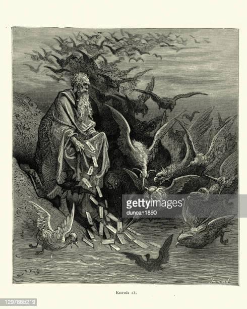 ilustraciones, imágenes clip art, dibujos animados e iconos de stock de viejo mago conseguir birs para entregar mensajes, fantasía medieval - un animal