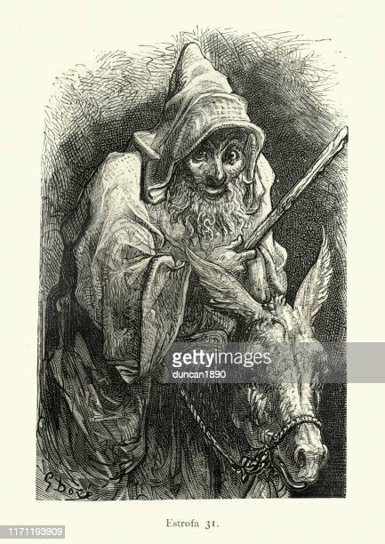 old wizard or wiseman riding a donkey, fantasy - hood clothing stock illustrations