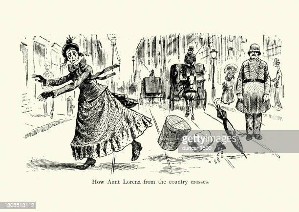 old woman crossing a busy city road, victorian cartoon, 19th century - road marking stock illustrations