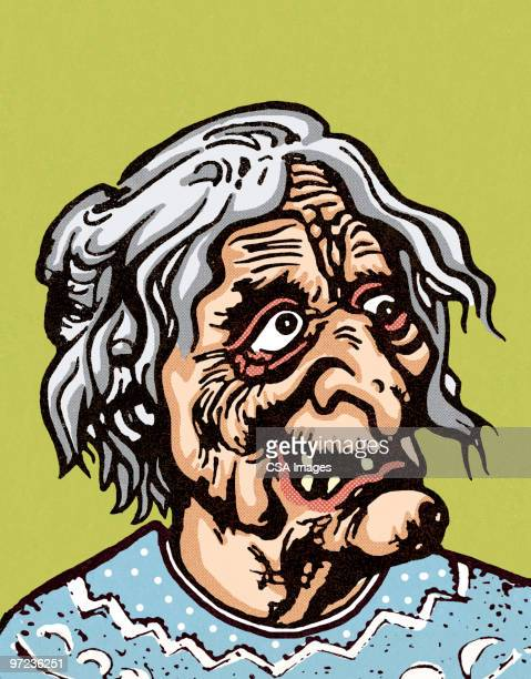 old woman - ugliness stock illustrations, clip art, cartoons, & icons