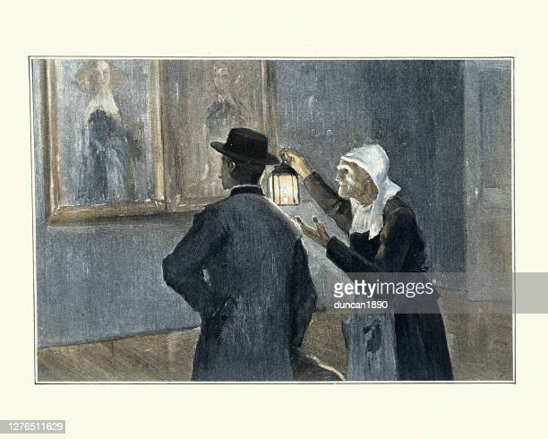 old woman showing man artworks by lamplight, 19th century - artistic product stock illustrations