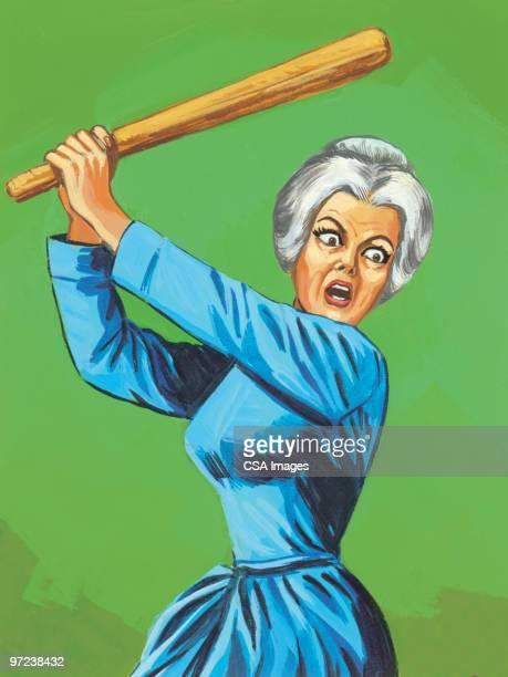 old woman wielding baseball bat - baseball bat stock illustrations, clip art, cartoons, & icons