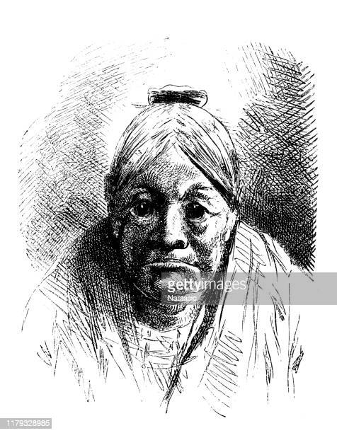 old woman with ox eyes - fine art portrait stock illustrations