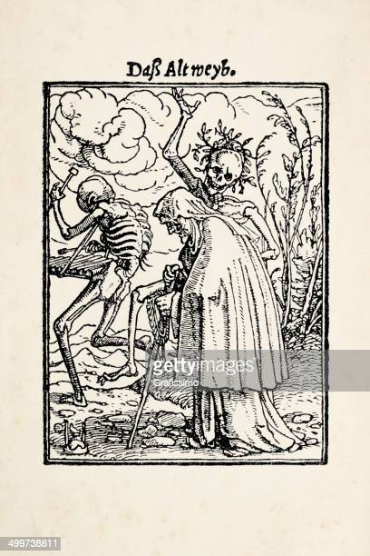 old woman with skeleton from dance of death after holbein - tarot cards stock illustrations, clip art, cartoons, & icons