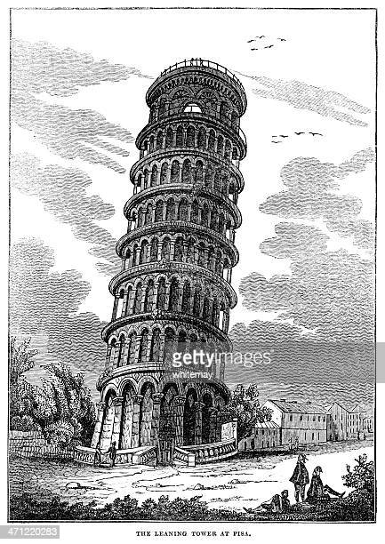 old woodcut - leaning tower of pisa - leaning tower of pisa stock illustrations, clip art, cartoons, & icons