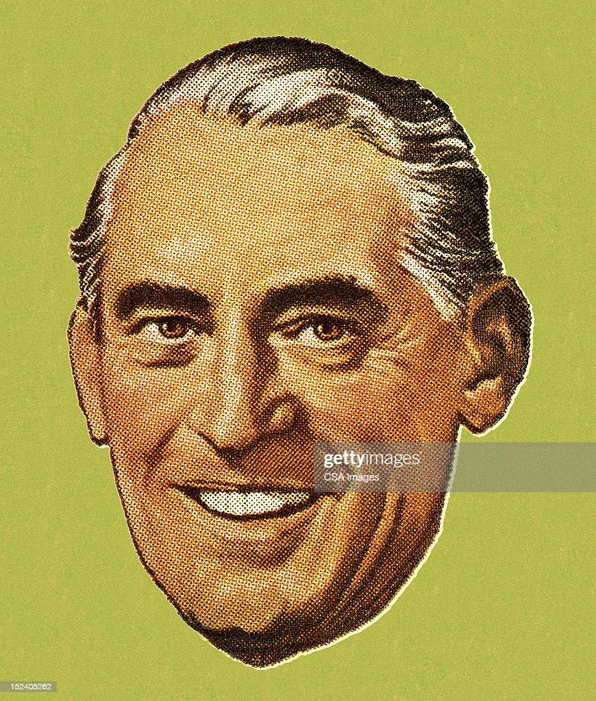 Older Man Smiling : stock illustration