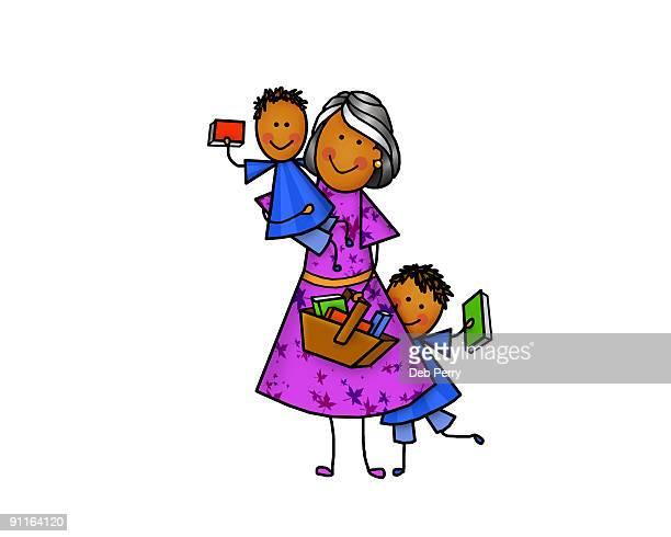 Older woman with children