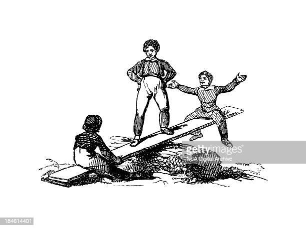 old-fashion games: see-saw - 19th century stock illustrations