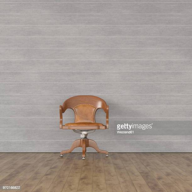 old-fashioned chair in front of modern concrete wall, 3d rendering - concrete wall stock illustrations, clip art, cartoons, & icons