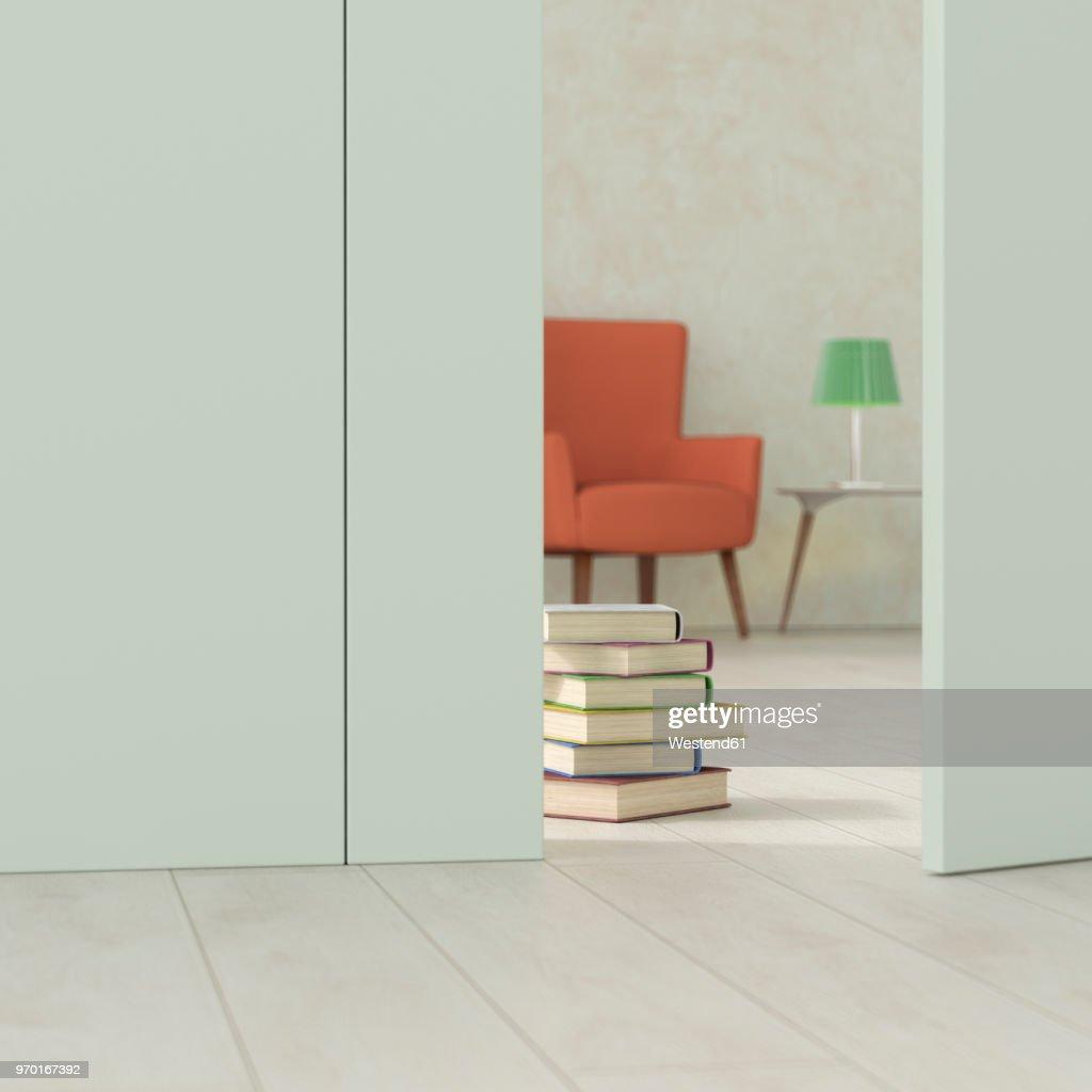 . Oldfashioned Living Room Behind Ajar Door 3d Rendering stock