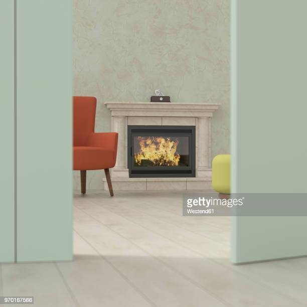 old-fashioned living room behind ajar door, 3d rendering - old fashioned stock illustrations