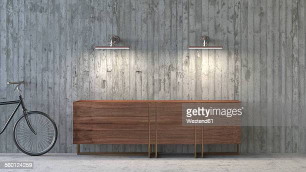 old-fashioned sideboard in modern ambience, 3d rendering - house interior stock illustrations, clip art, cartoons, & icons