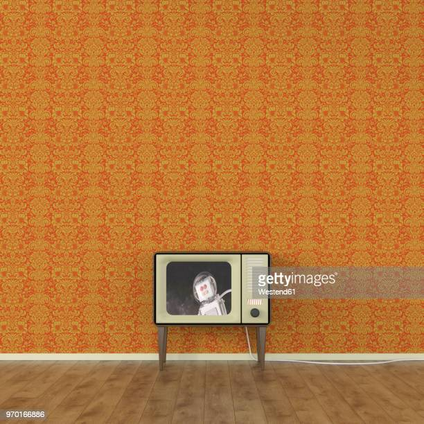 Old-fashioned TV with moon landing of a robot, 3d rendering