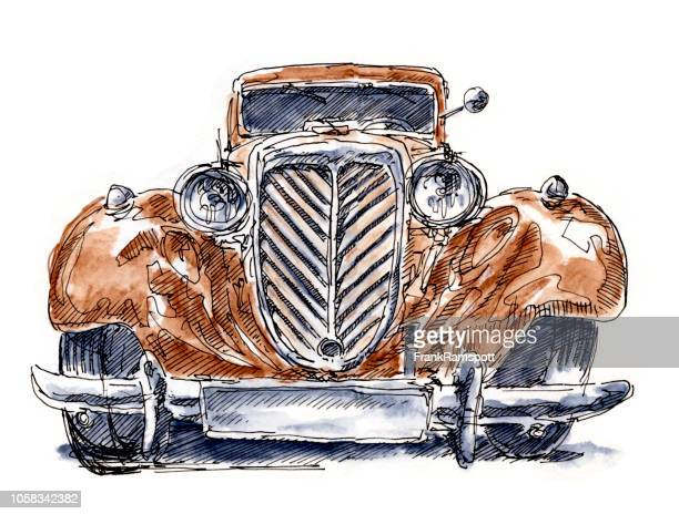 Oldtimer Classic Car Vorderansicht Tusche Zeichnung und Aquarell