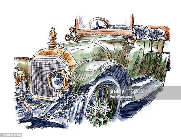 Oldtimer Classic Car Ink Drawing and Watercolor