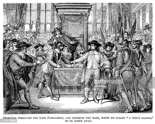 oliver cromwell dissolving parliament and removing the mace (victorian woodcut) - military uniform stock illustrations