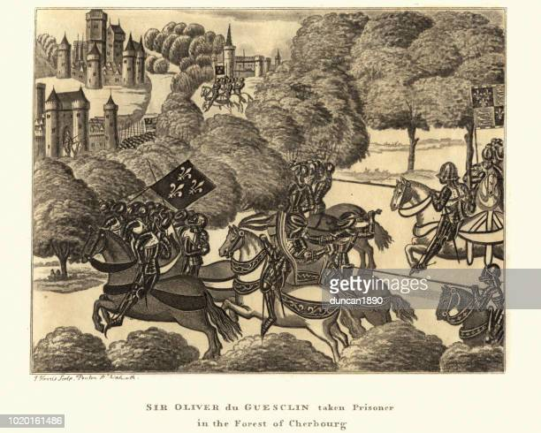 olivier du guesclin taken prisoner in the forest of cherbourg - circa 14th century stock illustrations, clip art, cartoons, & icons