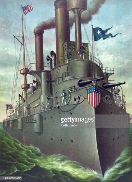 uss olympia, flagship of rear admiral george dewey - warship stock illustrations