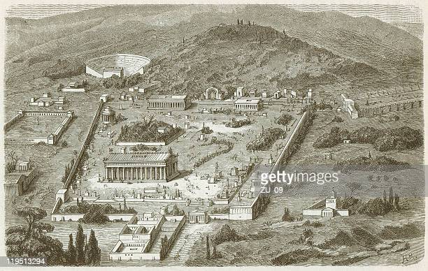 olympia, place of the ancient olympic games, published in 1882 - ancient greece stock illustrations, clip art, cartoons, & icons