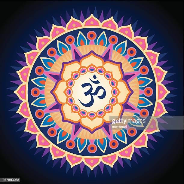 om mandala - om symbol stock illustrations