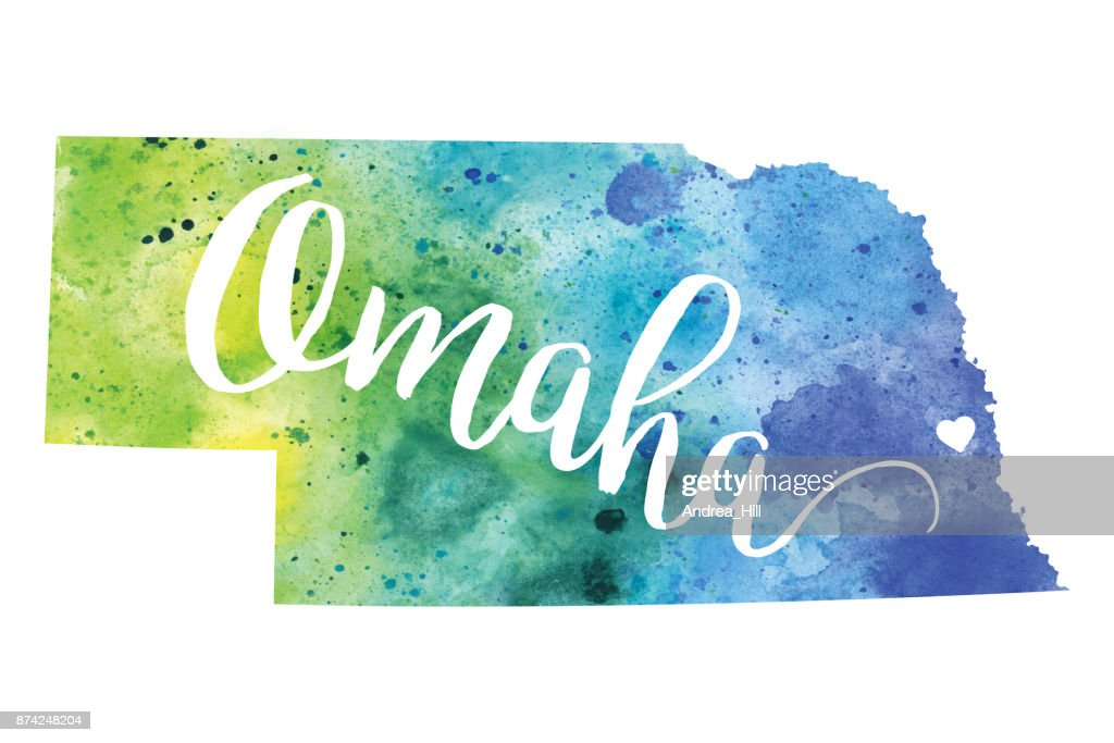 Omaha Nebraska Usa Watercolor Map Stock Illustration Getty Images