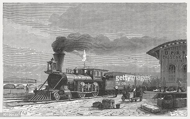 ilustrações, clipart, desenhos animados e ícones de union pacific railroad - século xix