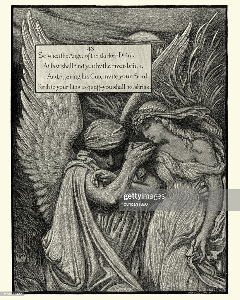 Omar Khayyam, So when the Angel of the darker Drink : stock illustration