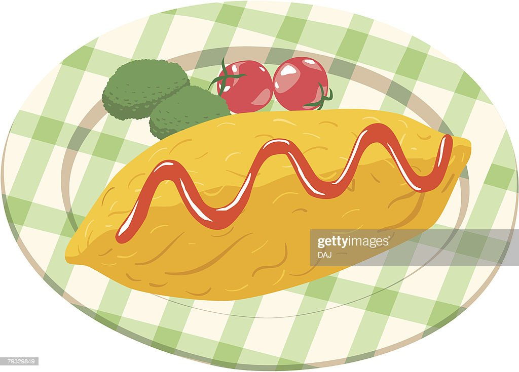 Omelet, close-up, illustration : stock illustration