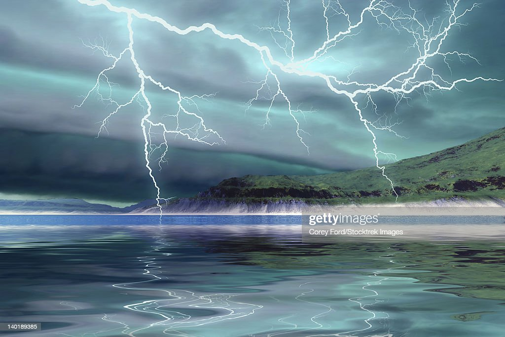 Ominous thunderclouds and lightning move over the mountains and a nearby lake. : stock illustration