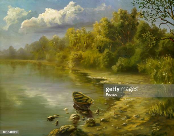 on a coast - impressionism stock illustrations