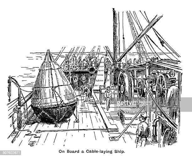 on board a victorian cable-laying ship - phone cord stock illustrations, clip art, cartoons, & icons