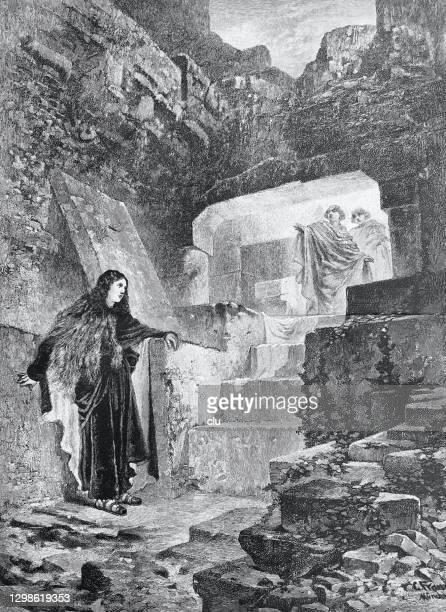 on easter morning in jerusalem: the grave is empty - empty tomb jesus stock illustrations