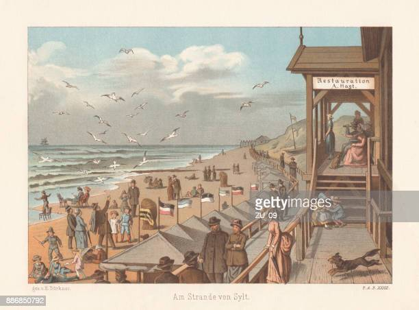 On the beach of Sylt, nostalgic scene, lithograph, published 1887
