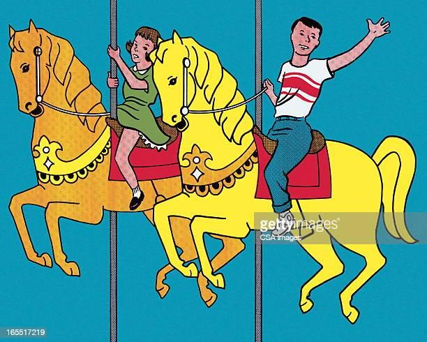 On the Merry Go Round Horses
