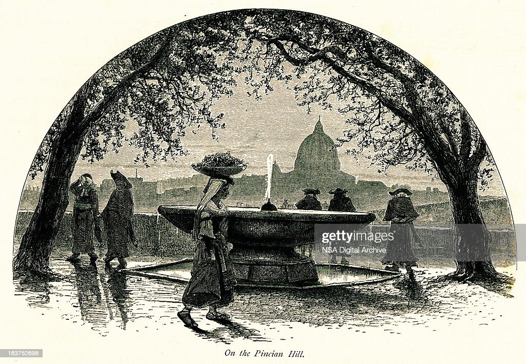 On the Pincian Hill, Rome, Italy I Antique European Illustrations : stock illustration