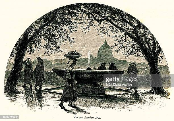 On the Pincian Hill, Rome, Italy I Antique European Illustrations