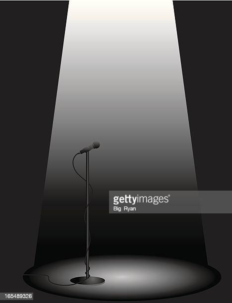 on the spot - microphone stand stock illustrations