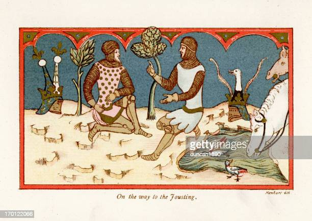 on the way to jousting - circa 14th century stock illustrations, clip art, cartoons, & icons