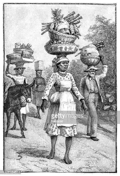 on the way to markets in kingston - jamaica stock illustrations, clip art, cartoons, & icons