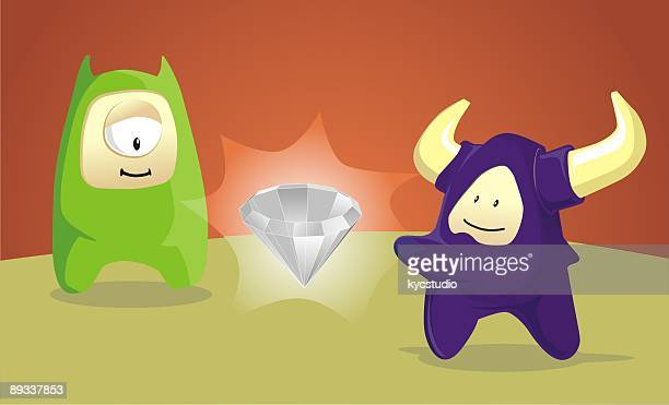 one diamond and two freaks - cyclops stock illustrations, clip art, cartoons, & icons