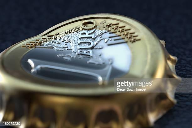 One euro coin mutated into a cheap crown cap