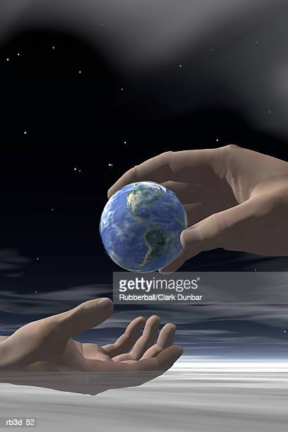 one hand gives earth to another - selfless stock illustrations