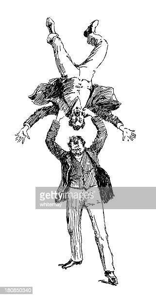 one man violently throwing another - actor stock illustrations, clip art, cartoons, & icons