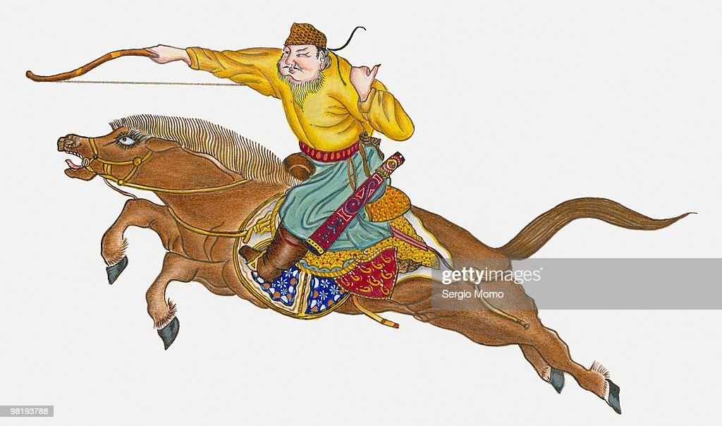 One of Genghis Khan's soldiers : stock illustration